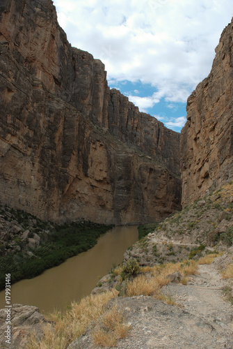 Entrance to the Saint Elena Canyon Trail, Big Bend National Park, Texas.  This trail is easily accessible and affords great views of the  Rio Grande River . #179931416