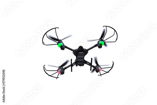 Flying drone of quadcopter isolated on white background.