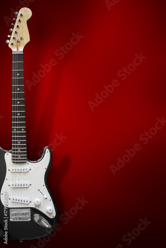 Black Electric Guitar with Background Canvas Print