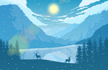 Winter Mountain Landscape With...