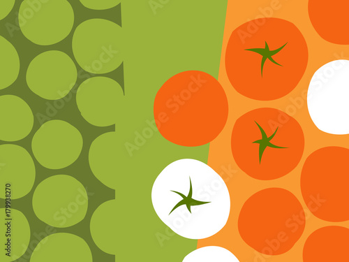 Abstract fruit and vegetable design in flat cut out style. Rows of tomatoes. Vector illustration. - 179938270