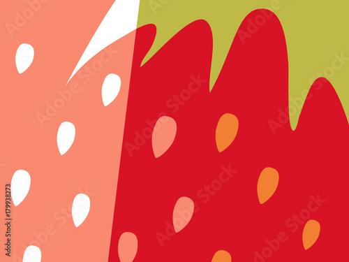 Streszczenie projektu owoców w stylu płaskiej wyciąć. Zamknij się truskawki i nasiona. Ilustracji wektorowych.