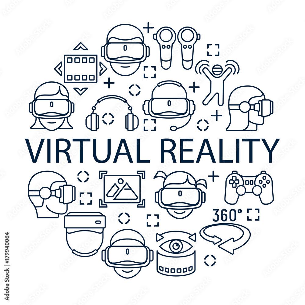 Fototapeta Virtual reality concept with grey linear icons, helmet icon.