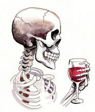 Skeleton With A Glass Of Red W...