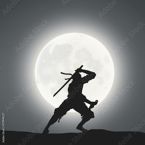 Photo  A Japanese Ninja Under The Moonlight