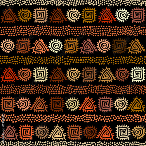 Photo Ethnic boho seamless pattern in african style on black background