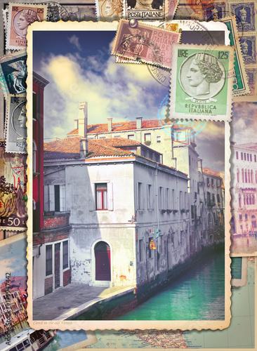 Photo sur Aluminium Imagination Lettere e cartoline italiane vintage di Venezia con vecchi francobolli