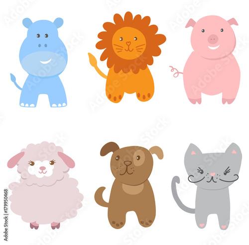 Cute Vector Set of Zoo Animals #179950468