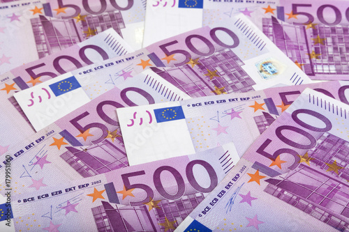 Fotografering  background of 500 Euros bills