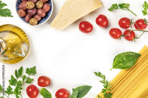 Fotografiet  Italian food products on white with copy space