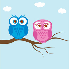 Naklejka Do przedszkola Greeting card with two lovely owls