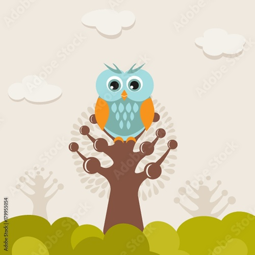 Poster Uilen cartoon illustration of a funny character owl