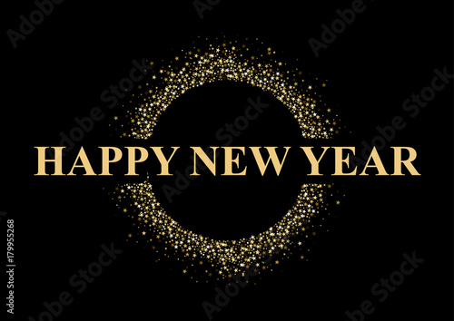 Valokuva  Happy New Year Greeting with Golden Stars on Black Background - Glittering Illus