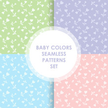 4 Cute Different Vector Seamless Patterns