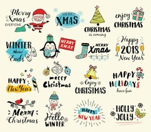 Christmas Hand Drawn Tags, Logos And Elements Set For Merry Christmas, Happy New Year. Vector Illustration.