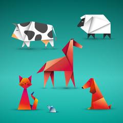 zwierzęta origami wektor
