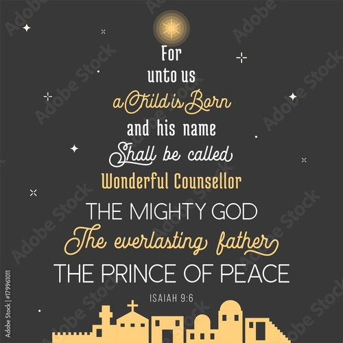 typography of bible verse from chronicles for Christmas, for unto us a child is Wallpaper Mural
