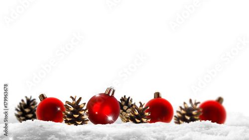 Rote Christbaumkugeln.Rote Christbaumkugeln Tannenzapfen Schnee Weisser