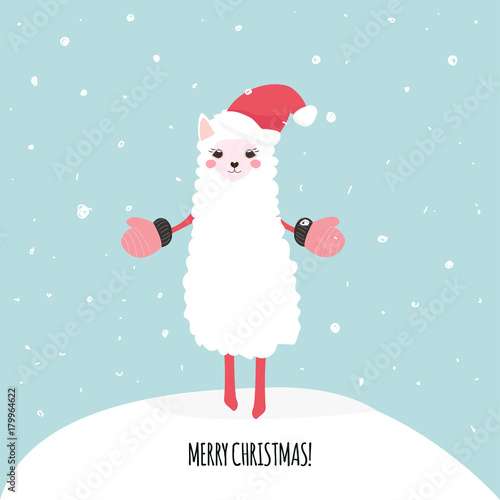 merry christmas cute greeting card with cartoon funny llama vector hand drawn illustration
