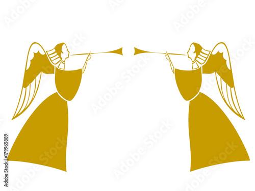 Fotografie, Obraz  Angeli dorati con trombe inneggianti che suonano la gloria della festa