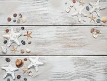 Seashells And Starfish Border