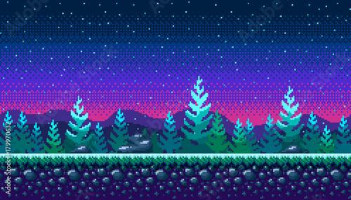 Foto auf AluDibond Blaue Nacht Pixel art seamless background.