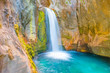 Small waterfall and natural pool in Sapadere canyon near Alanya in Turkey