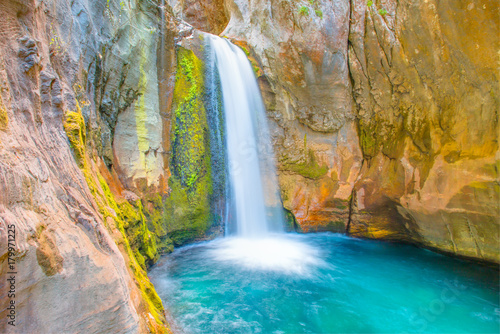 Foto op Aluminium Watervallen Small waterfall and natural pool in Sapadere canyon near Alanya in Turkey