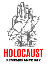 We Will Never Forget. Holocaust Remembrance Day. Yellow Star David. International Day Of Fascist Concentration Camps And Ghetto Prisoners Liberation Card Whit Hand And Barbed Wire Vector Illustration.