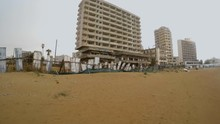 Abandoned Hotels In The Banned Greek City Of Varosha In The Rain In The Winter