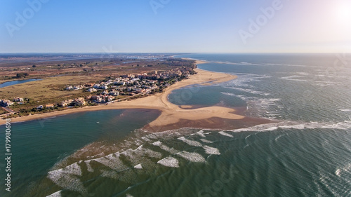Video shooting from the sky coast Isla Canela. Ayamonte