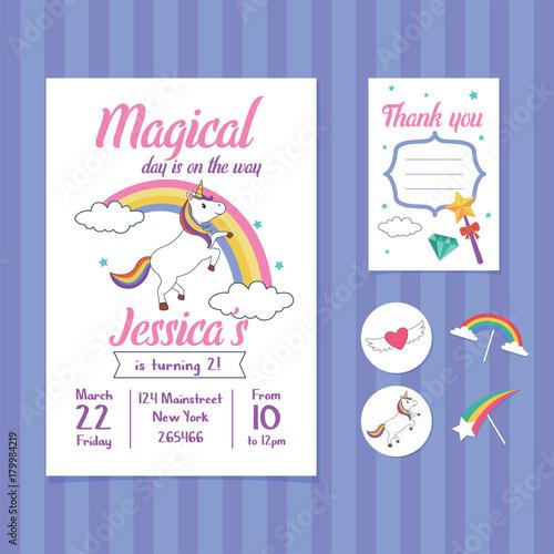 Fototapeta Unicorn Birthday Invitation Card Template With Unicorn And Rainbow Illustration