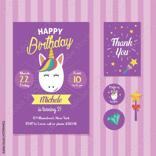 Fototapeta Unicorn Birthday Invitation Template With Cute Unicorn Face Illustration