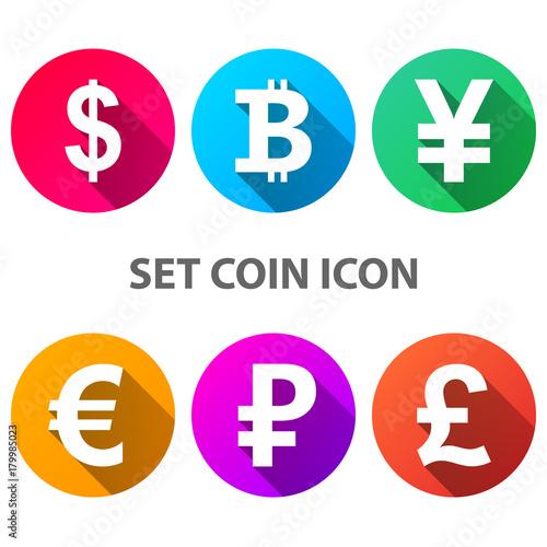 Dollar Bitcoin Yen Euro Ruble Pound Icon Vector Eps 10
