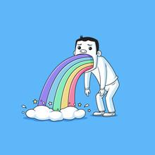 Sad Man Puking Rainbows Vector...
