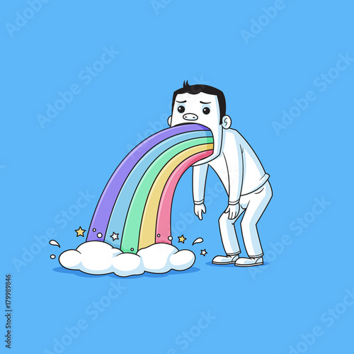 Fototapeta Sad man puking rainbows vector cartoon illustration
