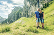 Family enjoying time outdoors near Aggenstein, Pfronten, Bavaria, Germany