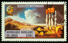 Captain James Cook And Easter Island On Postage Stamp