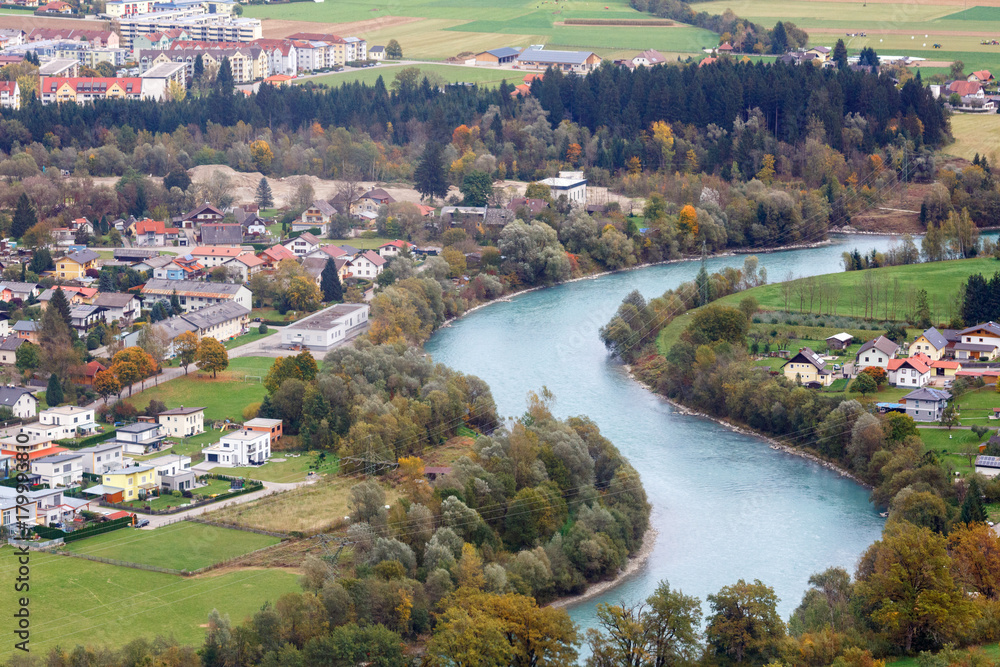 Fototapety, obrazy: Aerial view of the alpine town of Spittal an der Drau, located on the banks of Drava river. Gurktal Alps (Nock Mountains), federal state of Carinthia, Austria.