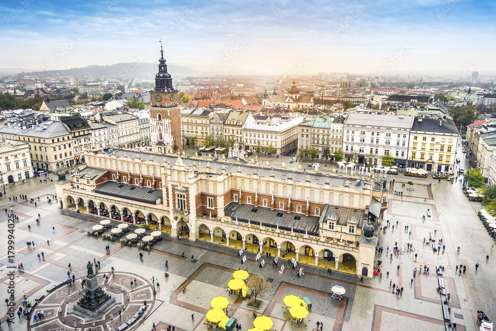 Fototapety, obrazy: Cloth's Hall and Old City Hall Tower on Market Square, Krakow, Poland