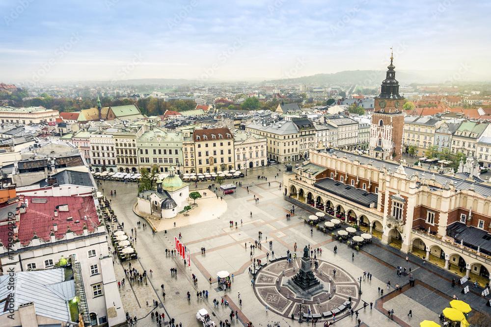 Fototapety, obrazy: Rynek w Krakowie widziany z lotu ptaka