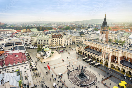 Fototapeta Cloth's Hall and Old City Hall Tower on Market Square, Krakow, Poland obraz
