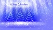 light composition for merry Christmas background with three 3d Christmas tree from glitter particles, sparkles stars. With rays such as aurora borealis and snowfall on blue background. V2