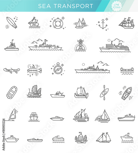 Fotografia  vector line set of ships and boats