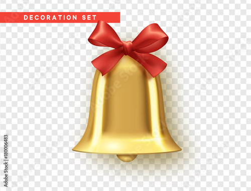 Fotografie, Tablou Traditional holiday decoration element, golden bell with red bow