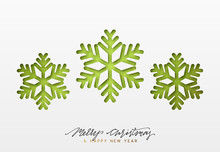 Christmas Background, Design Green Snowflakes Texture Paper.
