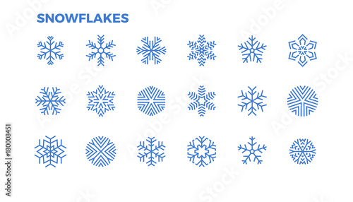 snowflake icons crystals of snow for the decoration of winter