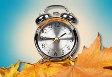 Vintage Alarm Clock On Wooden ...