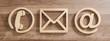 canvas print picture - Kontakt Symbole aus Holz