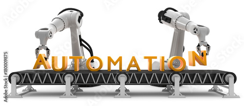 Obraz Industrieroboter am Förderband Automation - fototapety do salonu